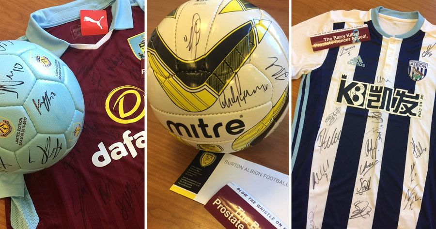 Signed football shits and ball raffle prizes